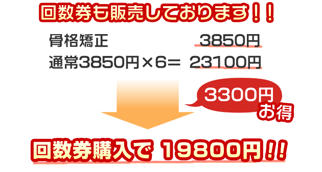 回数券も3回分で19800円で販売しております